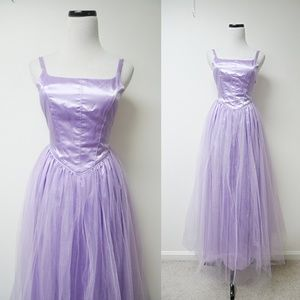 VTG princess cut tulle prom formal dress / gown